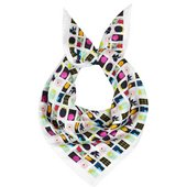 A silk scarf with a series of of miniature version of Gary Hume's artworks printed on it