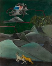 Bhupen Khakhar Tiger and Stag 1970 © Estate of Bhupen Khakhar