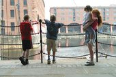 Children on the dock in front of Tate Liverpool gallery