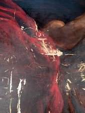 Detail revealing old fills during varnish and overpaint removal in the area of Troilus's red cloak