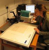 Judith Bannerman testing the lightfastness