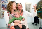 Mother, friend and son at a Tate St Ives exhibition