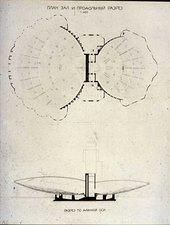 Naum Gabo Submitted Design for Palace of Soviets: Plan of Main Hall and Section (sheet 3) 1931