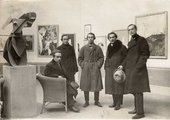 Organisers of the First Russian Art Exhibition, Berlin.  the foreground is the lost iron version of Gabo's Constructed Torso 1917.