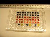 Pigment samples ready for lightfastness testing