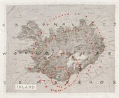 Roni Horn Rationalists Would Wear Sombreros 1990 map of Iceland with text added to it.text