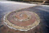 Robert Smithson spiral Jetty April 1970, Great Salt Lake, Utah