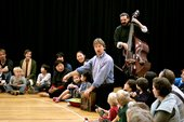 Nico Brown and Martin Brunsden leading an orchestra workshop