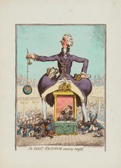 James Gillray The Giant Factotum Amusing Himself 1797 a giant man surrounded by and stepping on little people