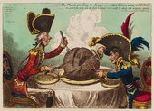 James Gillray The Plum pudding in Danger  or  State Epicures taking Un Petit Souper 1805