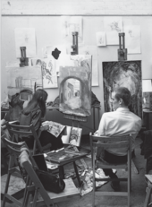 James Dyson and Deirdre Hindmarsh in the Byam Shaw painting studio, 1966