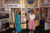 Janet Axten and Janet Slack manning a St Ives Tate Action Group stall at Tregenna Castle Hotel, early 1990 with architects' impr