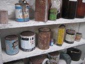 Barbara Hepworth studio paint tins on shelf