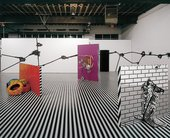 Jim Lambie, Installation view, Mental Oyster, Anton Kern Gallery New York, 2004