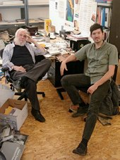 John Baldessari and Skylar Haskard at Baldessari studio in Los Angeles