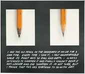 Joh Baldesarri The Pencil Story 1972 to 1973 two photographs of a dull and a sharp pencil with a story about sharpening the dull pencil.