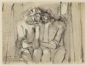 Pen wash sketch of two figures sitting, resting on each other's shoulder
