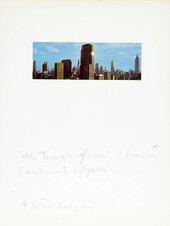"Page in Joseph Cornell's Giuditta Pasta Dossier 1940s-60s, with postcard of New York skyline and inscription by Joseph Cornell, '""the tiara's gleam"" (Tancred*) (costumer's sylphide) *Ricordanza'"