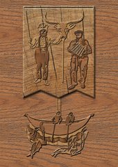 Juneau Projects 2008 relief in wood depicting a  boat with a mermaid and a centaur below it the sale depicts a bulls head a man playing the harpsichord another man brandishing a sword
