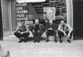 Konrad Lueg, Sigmar Polke, Blinky Palermo and Gerhard Richter in front of Galerie Heiner Friedrich, Cologne 1967