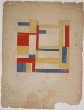 Marlow Moss preliminary drawing for Untitled (White, Black, Blue and Yellow)