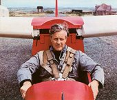 Peter Lanyon in a glider at Perranporth Gliding Club, c1963–4, photographed by Kerry Dundas