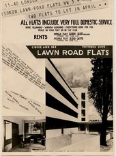 Advertisement for Lawn Road Flats Hampstead London circa 1934