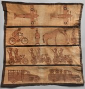 Hausa, Northern Nigeria, Leatherwork panel depicting colonial scenes c1940