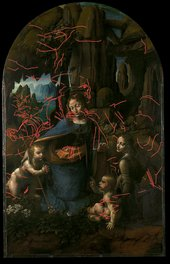 Leonardo da Vinci The Virgin of the Rocks Tracing of underdrawing superimposed on the original painting