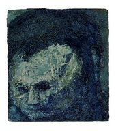 Heavy painted and expressive portrait of artist Leon Kossoff in dark colours including white, blue and black