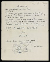 Letter from Kenneth Armitage to Joan Moore, addressed Corsham Court 1951