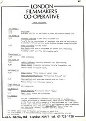 Programme listing for the premiere of John Smith's The Girl Chewing Gum 1976 at the London Film-makers' Co-operative on 10 March