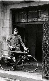 Richard Long outside St Martin's School of Art, London, at the start of 'Cycling Sculpture, 1- 3' December 1967