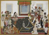 Anonymous Delhi School, Mahadaji Sindhia entertaining a British naval officer and military officer with a Nautch c.1815-20