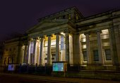 Manchester Art Gallery; exterior photo at night