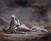 Maria Cosway Nightscene: A Woman and Two Children, One Apparently Dead, at Seashore 1800