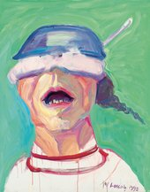 Maria Lassnig, Self-Portrait with Saucepan, 1995