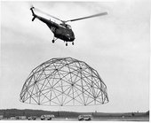 US Marine Corps transporting a 55ft dome via helicopter, 1954