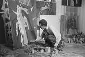 Photograph of Wifredo Lam in his studio in Havana in 1950