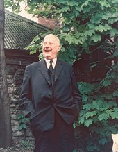 L S Lowry in the garden at his house in Mottram-in-Longdendale