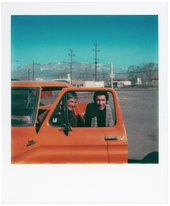 Agnes Martin and Arne Glimcher with her new truck in Galisteo, New Mexico, 5 March 1979