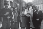 Maurice de Sausmarez outside the Byam Shaw School of Art with some of his students, 1965