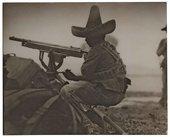 Rebel machine gunner, second Battle of Torreon, Mexican Revolution, April 1914