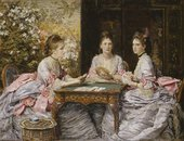 After treatment: John Everett Millais, Hearts are Trumps: Portraits of Elizabeth, Diana, and Mary, Daughters of Walter Armstrong,