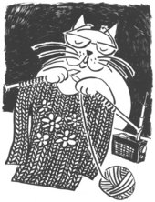 Lisa Milroy Shortsighted Cat Knitting A Sweater  2003