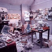 Henry Moore Moore's maquette studio at Hoglands, Hertfordshire, as he left it on his death in 1986