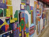 Mosaic decoration by Eduardo Paolozzi at Tottenham Court Road tube station, Central line westbound platform