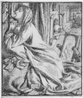 Dante Gabriel Rossetti Illustration for 'Mariana of the South' 1857