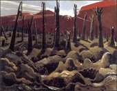 Paul Nash We Are Making a New World 1918 (painting of field with dead trees, red hills)