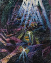 Umberto Boccioni Forces of the Street, 1911shadowy figures aming geometric shapes with abstracted beams of light shining down from top of image.